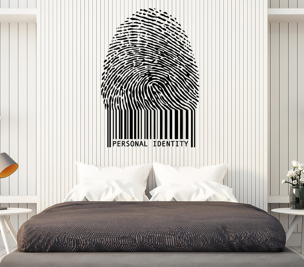 Vinyl Decal Wall Sticker Stylized Bar Code Fingerprint Personal Identity Unique Gift (n734)