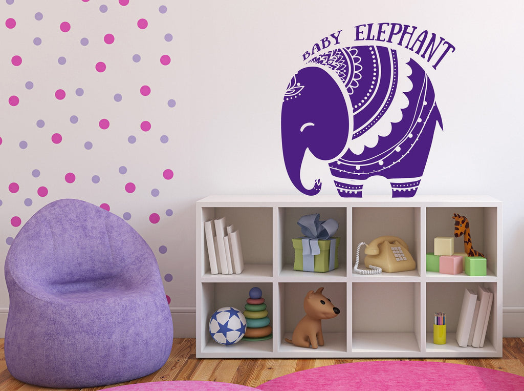 Vinyl Decal Wall Sticker Baby Elephant African Style Tattoo Unique Gift (n738)