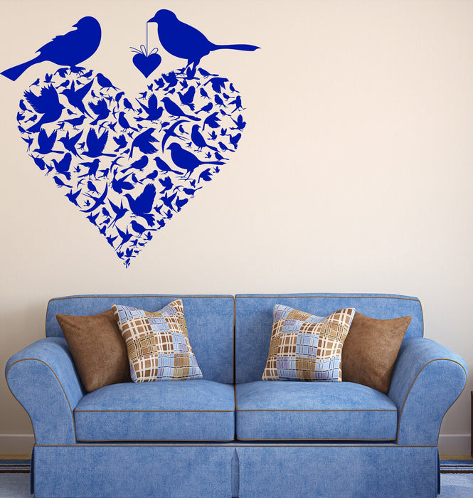 Vinyl Decal Wall Sticker Couple Birds Heart Shape Spring Love Decor Unique Gift (n744)