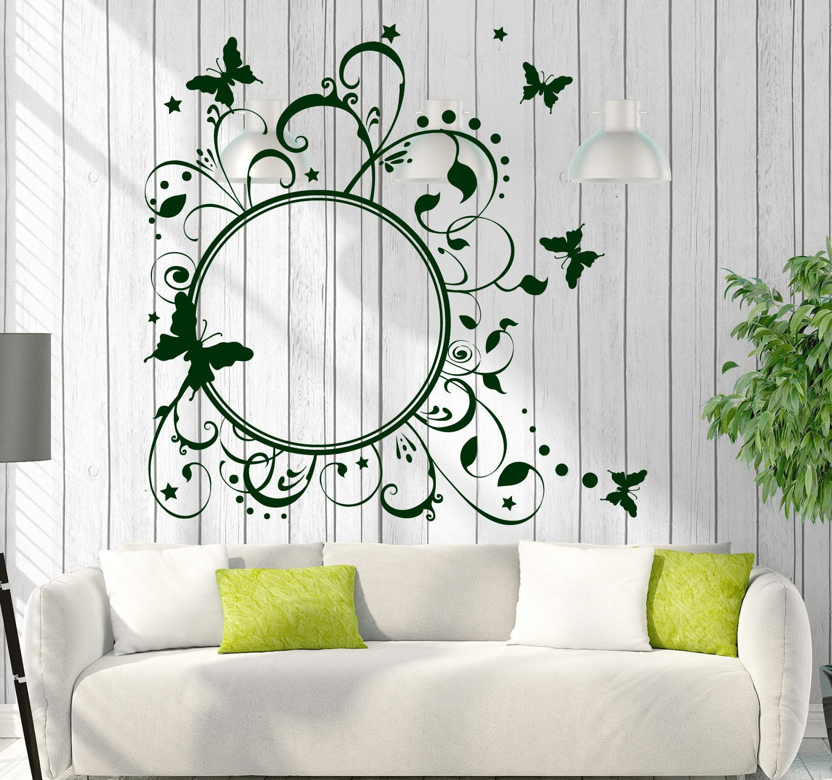 Vinyl Decal Wall Sticker Round Butterfly Frame Floral Pattern Studio Art Unique Gift (n745)