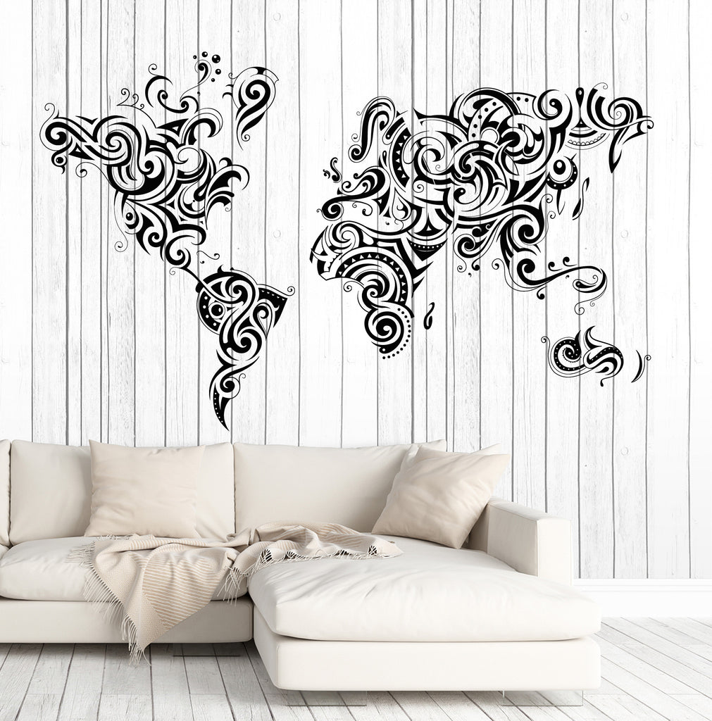 Vinyl decal wall sticker decorative world map ornament decor n750 vinyl decal wall sticker decorative world map ornament decor n750 gumiabroncs Choice Image