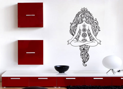 Vinyl Decal Wall Sticker Beautiful Girl Gorgeous Hair Pose Yoga Lotus Unique Gift (n762)