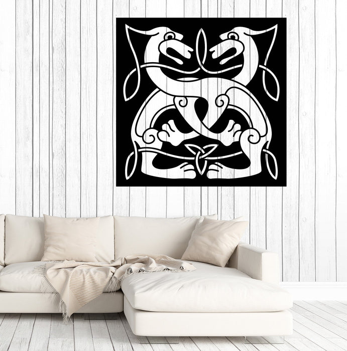 Large Vinyl Decal Wall Sticker Abstract Animal Couple Dog Celtic Style Image Art Unique Gift n779