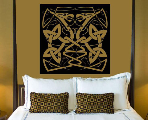 Large Vinyl Decal Wall Sticker Abstract Animal Snake Couple Celtic Style Image Art n780