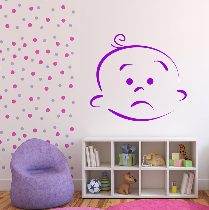 Large Wall Vinyl Decal Beauty Baby Cartoon Face Different Emotions Unique Gift (n791)