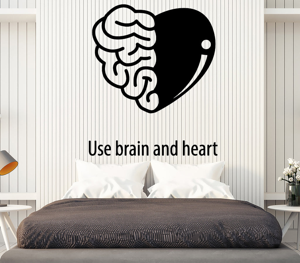 Vinyl Decal Wall Sticker Quote Use Brain and Heart Living Room Decor ...