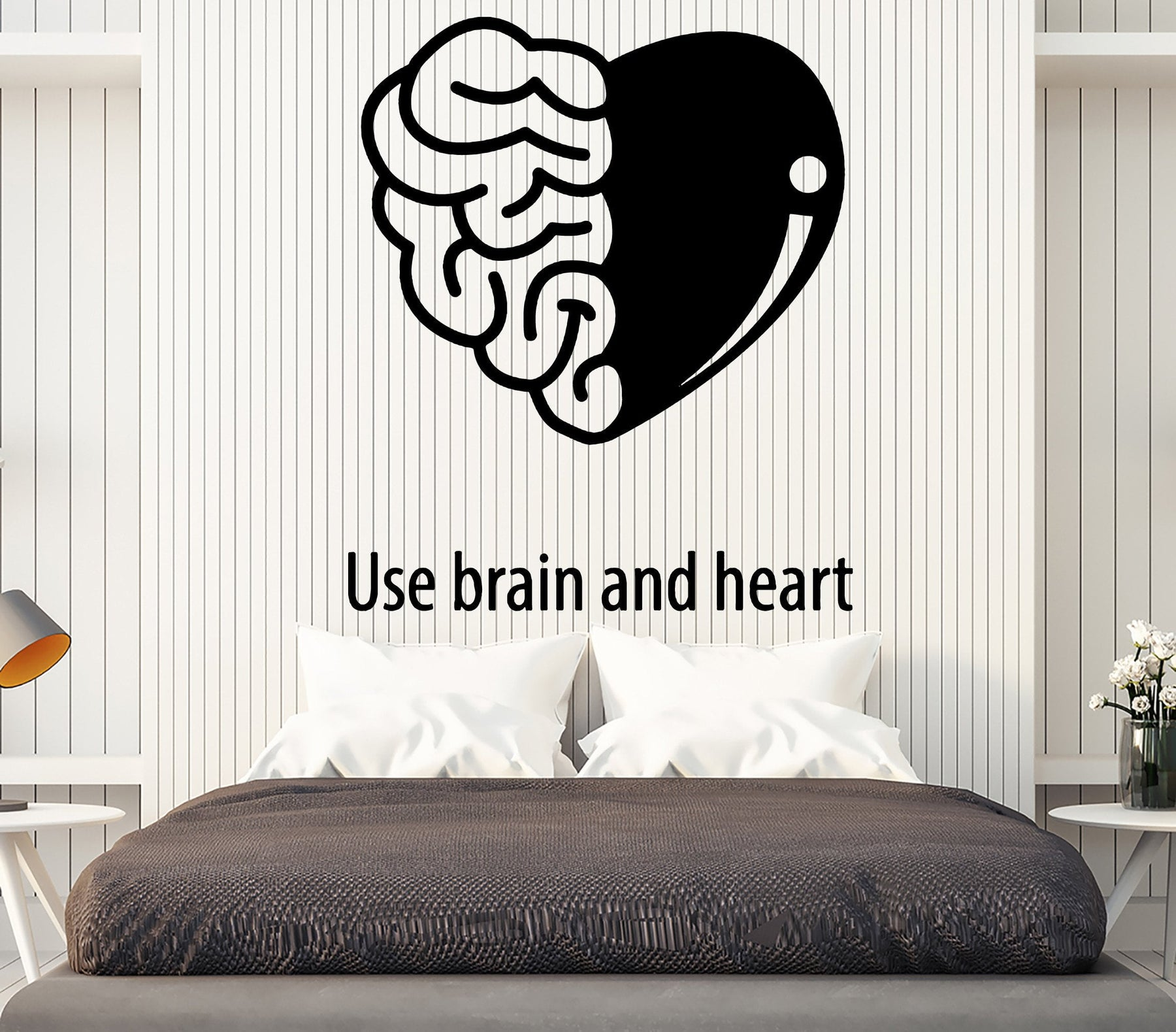 Vinyl Decal Wall Sticker Quote Use Brain And Heart Living Room Decor