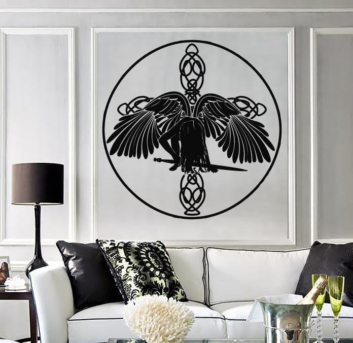 Vinyl Decal Wall Sticker Celtic Angel with Wings and Sword of the Cross Unique Gift (n801)