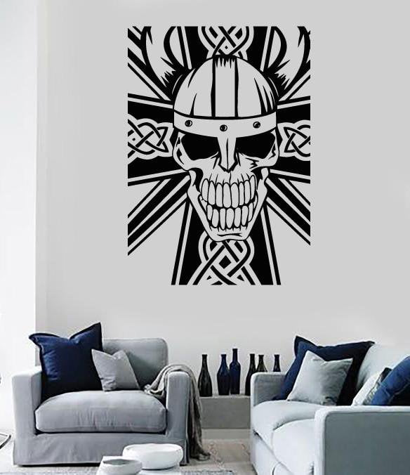 Vinyl Decal Wall Sticker Celtic Cross and Skull Decor Unique Gift (n802)