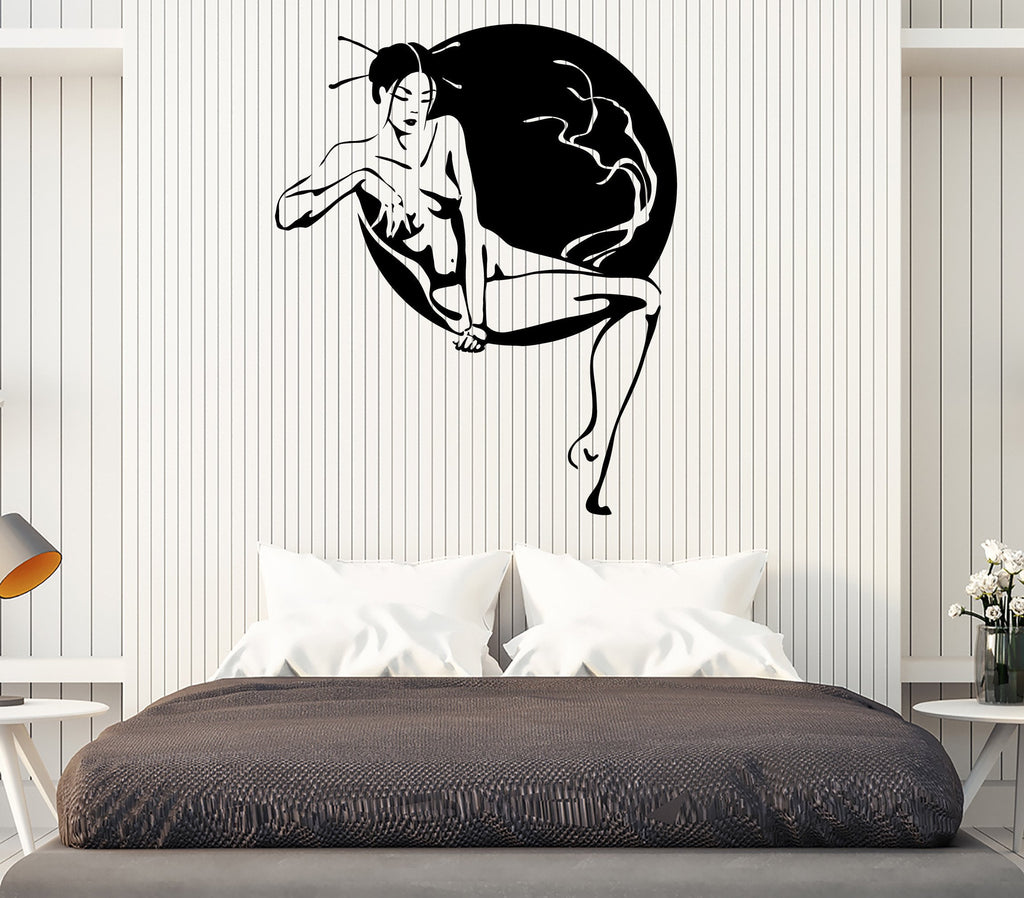Vinyl Sticker Geisha Japanese Beauty Nude Woman Sakura Tree Wall Decal Unique Gift (n803)