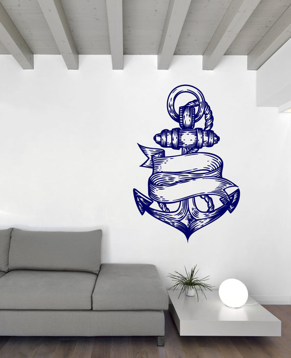 Vinyl Decal Wall Sticker Sea Nautical Marine Anchor Engraved Style Decor Unique Gift (n804)