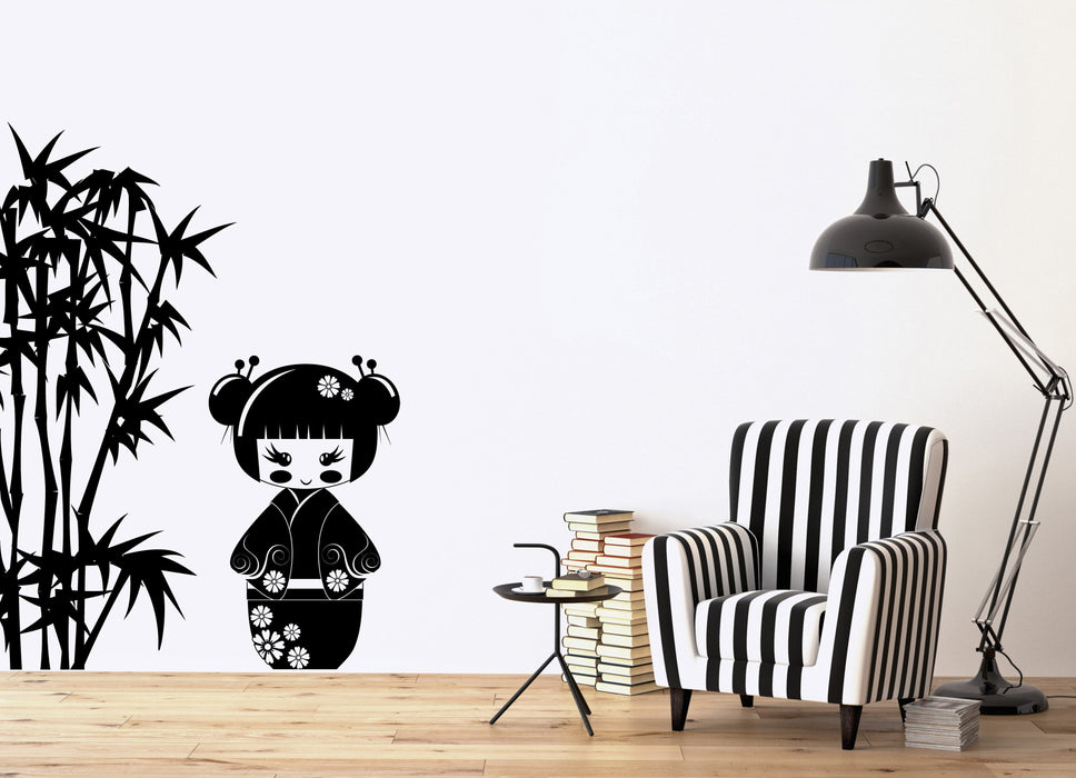 Vinyl Decal Kokeshi  Japanese Doll Bamboo Branches Wall Sticker for Kids Room Unique Gift (n807)