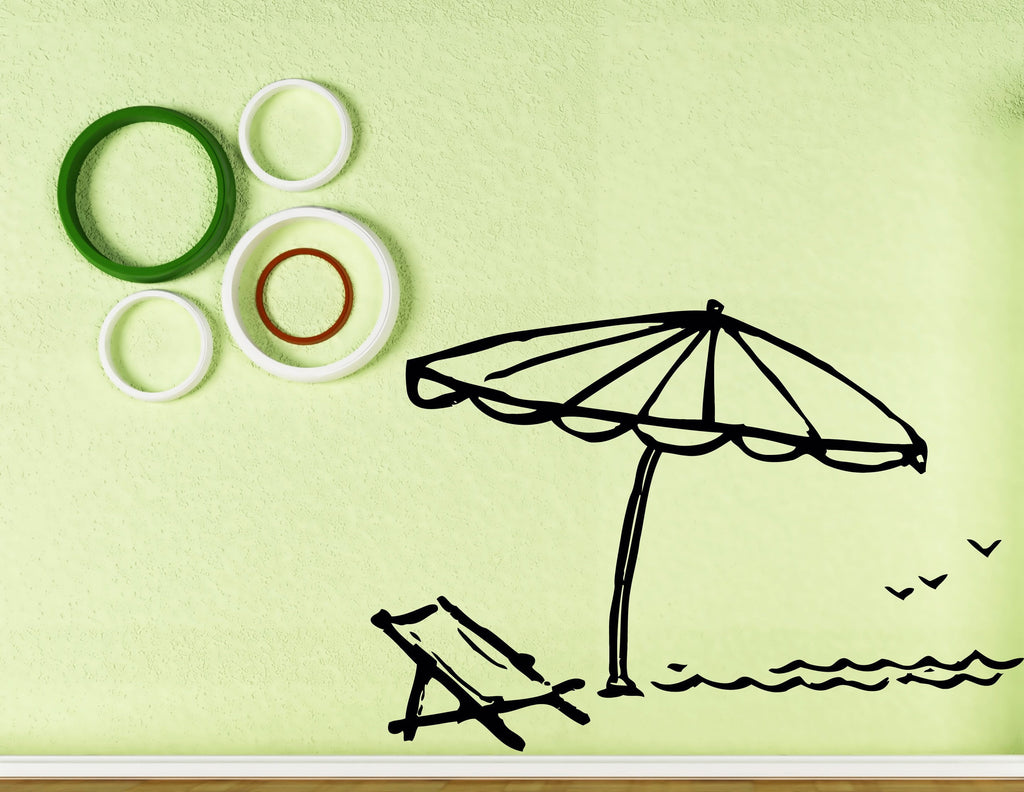 Vinyl Decal Wall Sticker Beach Style Chaise Lounge Umbrella Vacation ...