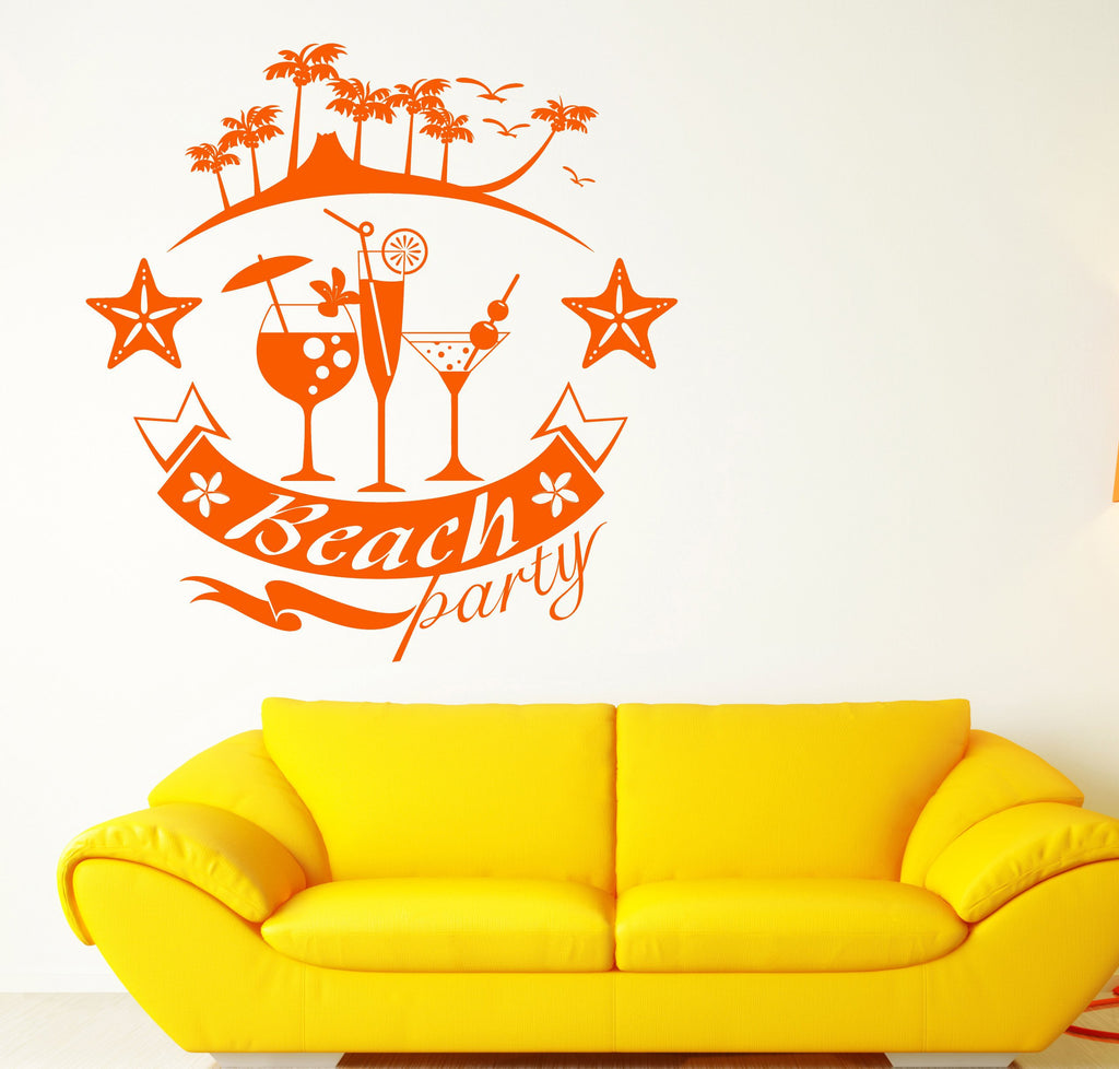 Vinyl Decal Wall Sticker Beach Party Summer White Background Decor ...