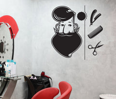 Large Vinyl Decal Wall Sticker Barber Shop Tools Elements Hair Salon Art (n823)