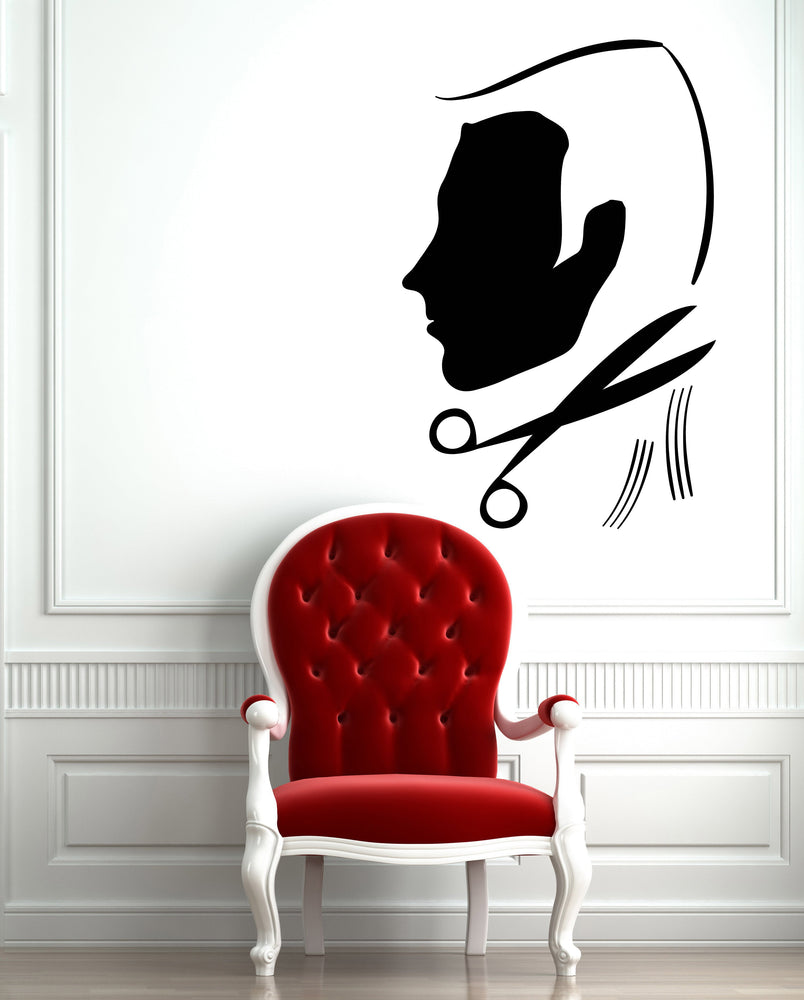Large Vinyl Decal Wall Sticker Man's Hair Cutting Barber Shop Beauty Salon Decor (n826)