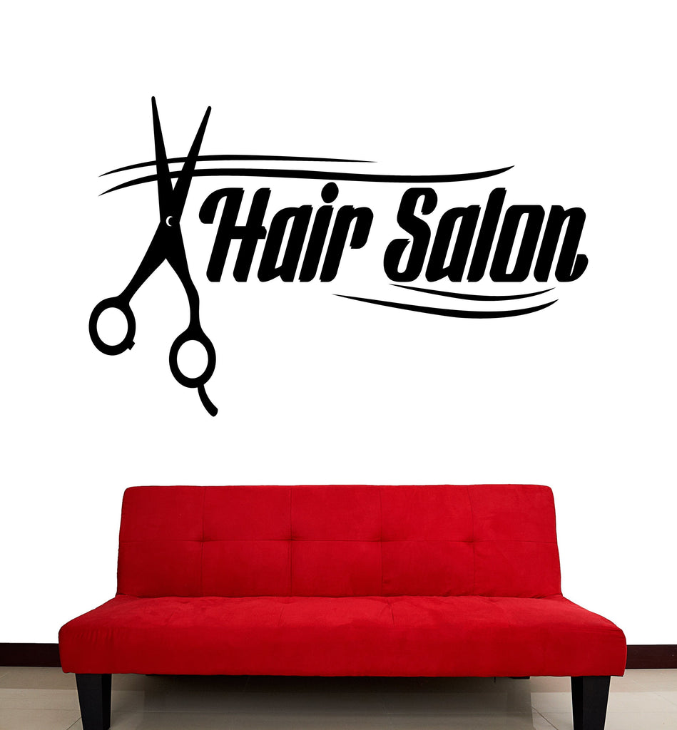 Large Vinyl Decal Wall Stickers Words Lettering Hair Salon Tools Scissors (n834)