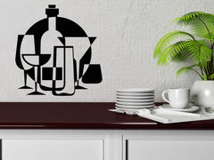 Vinyl Decal Wall Sticker Drinks Glass Collection Jug Flask Wine Shop Decor (n846)