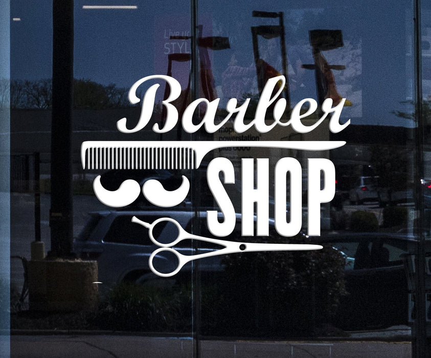 Window Sign Vinyl Decal Wall Stickers Barber Shop Badges Tools Hair Salon Sign (n857w)
