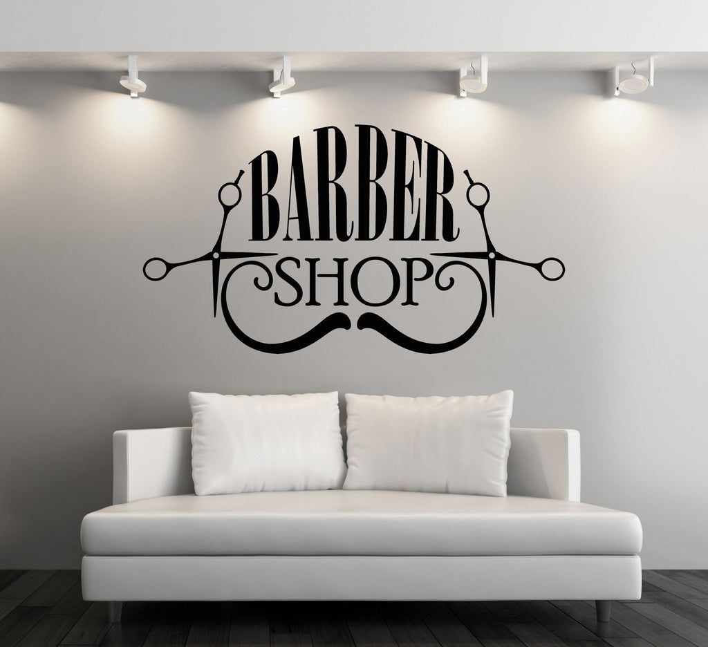 Vinyl Decal Wall Sticker Barber Shop Badges Tools Hair Salon Sign (n858)