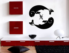 Vinyl Decal Wall Sticker Pisces Symbol of Duality Zodiac Sign Unique Gift (n906)