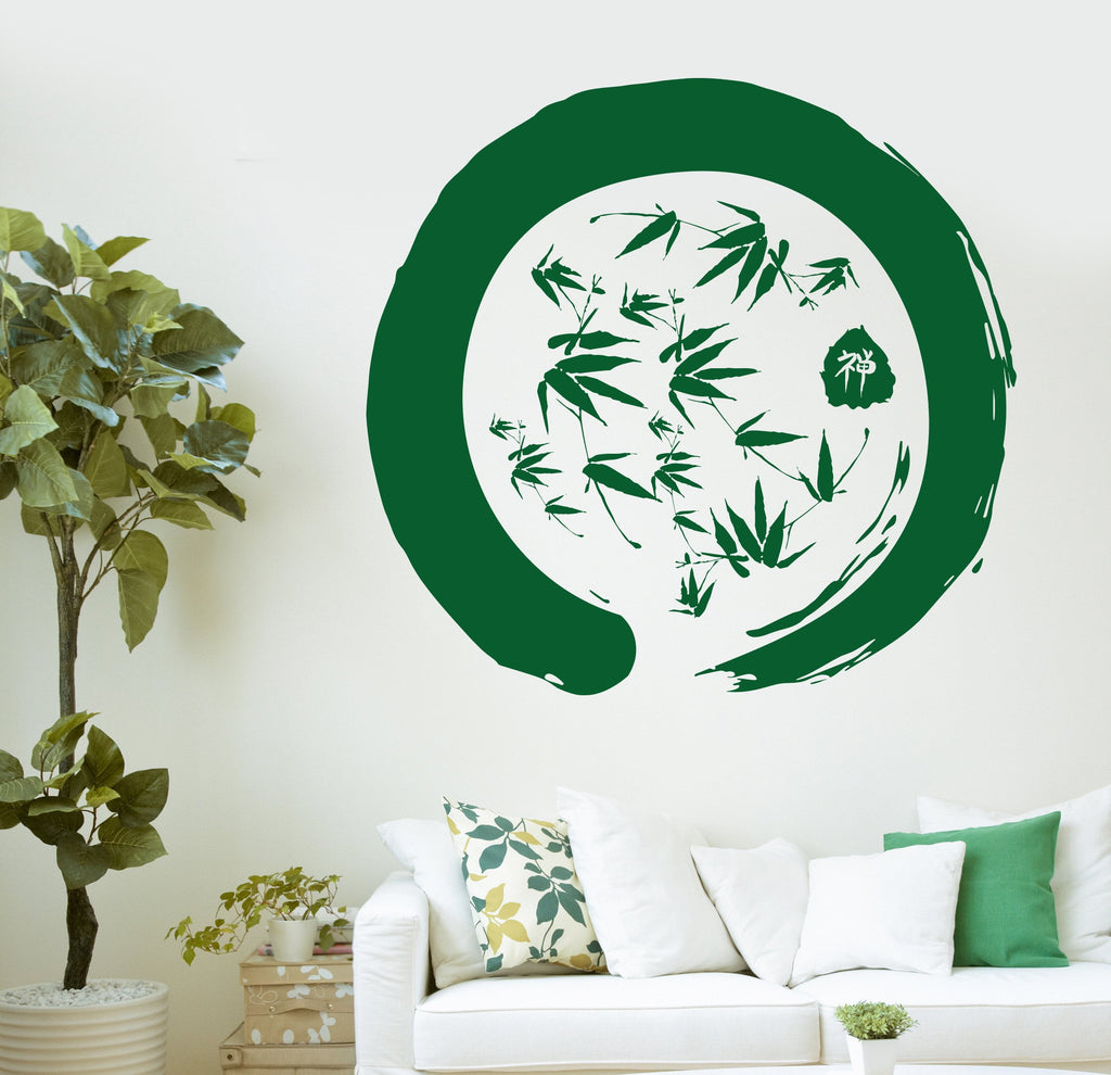Enzo Circle Bamboo Yoga Mediation Decor Wall Viyl Decal Sticker Unique Gift (n915)