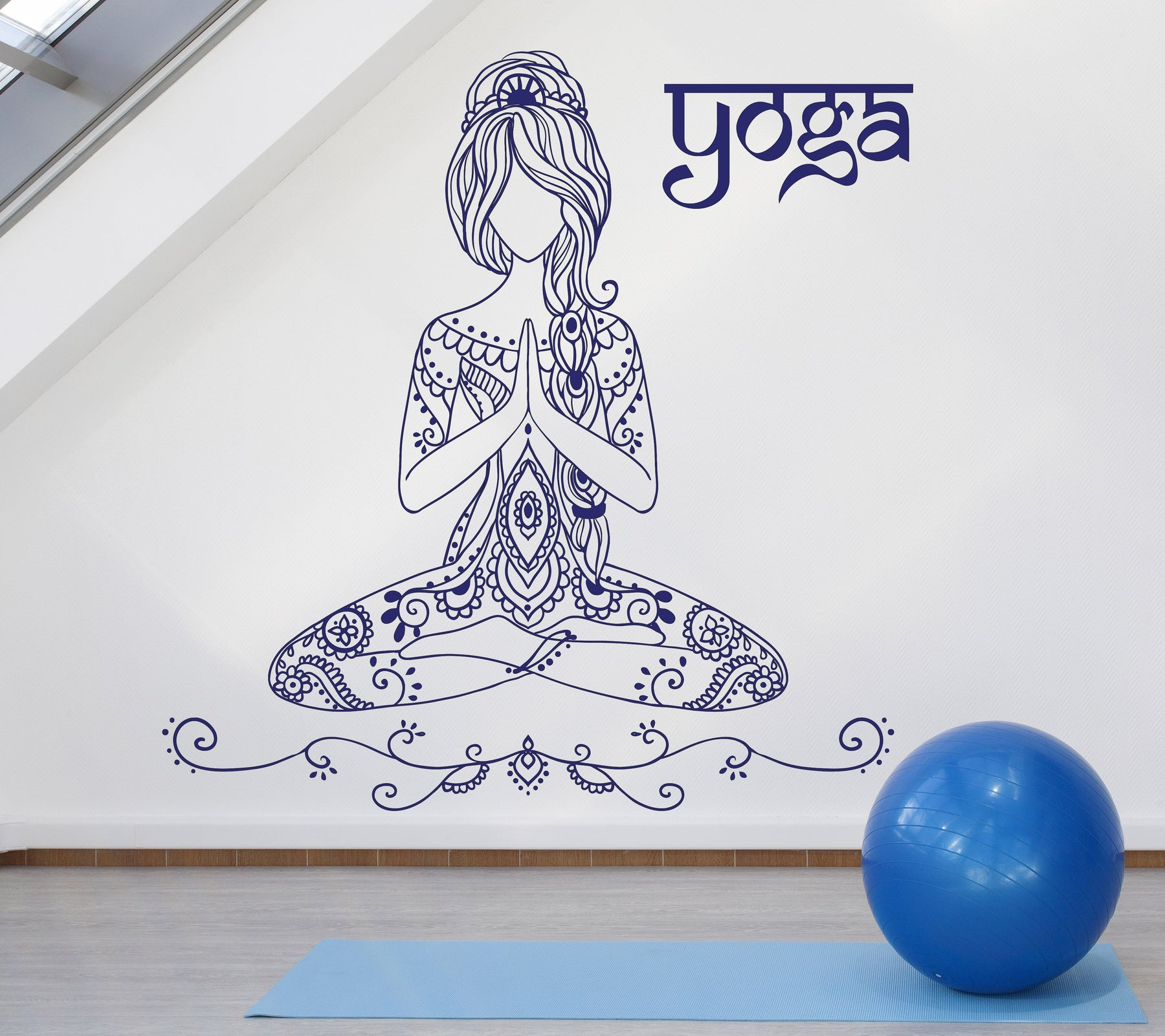Beauty Girl Tattoo Style Yoga Pose Mediation Wall Vinyl Decal Sticker Unique Gift (n919)