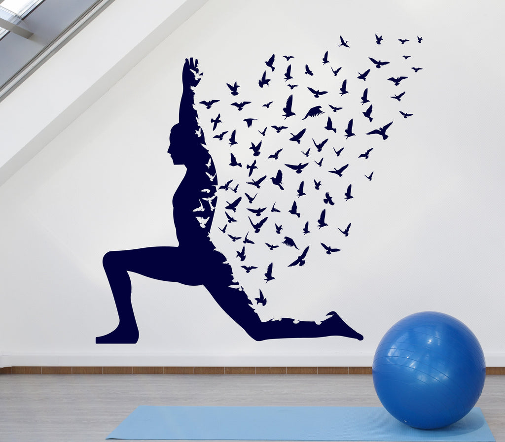 Large Vinyl Decal Yoga Pose With Birds Flying Human Body Yoga Poster N942 on Wall Vinyl Decal Yoga Pose Buddha Spiritual By