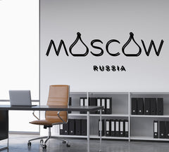 Vinyl Decal Wall Sticker World Cities Labels Moscow Russia Decor (n960)