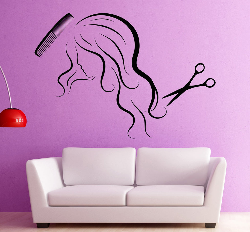 Large vinyl decal wall sticker woman head haircut barber tools beauty wallstickers4you