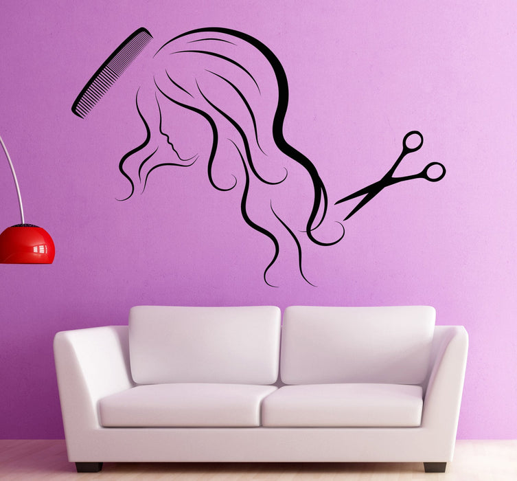 Large Vinyl Decal Wall Sticker Woman Head Haircut Barber Tools Beauty Salon Decor n975