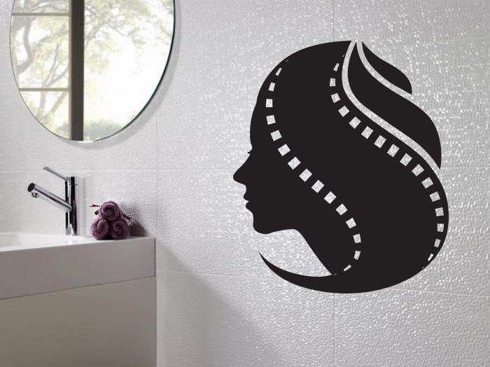 Large Vinyl Decal Wall Sticker Woman Hairstyle as Film Tape Beauty Salon Decor n976