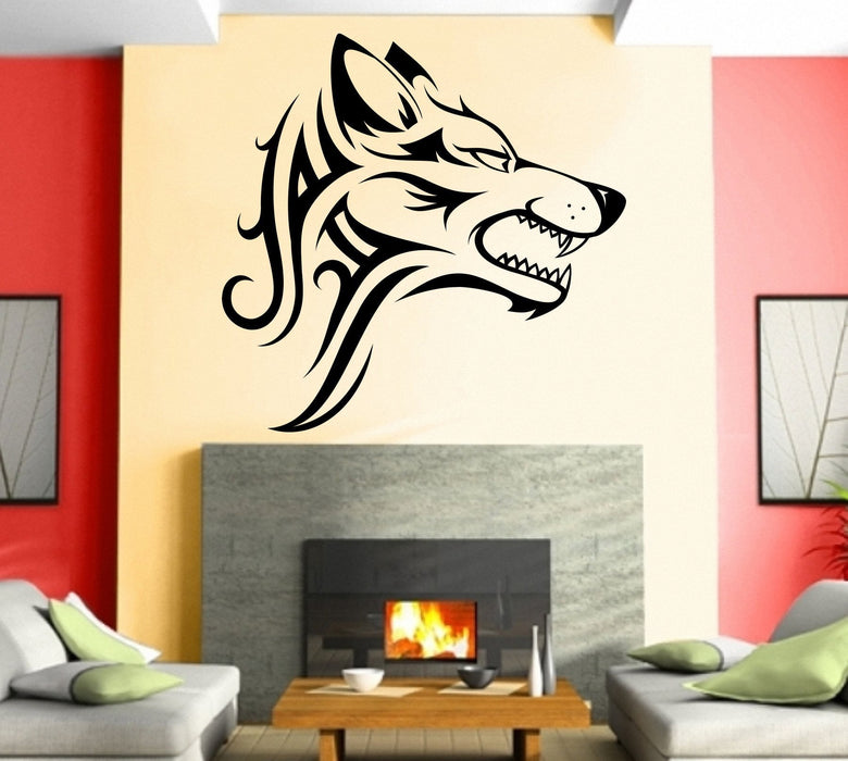 Large Vinyl Decal Wall Sticker Wolf Predator Head Tattoo Style (n981)