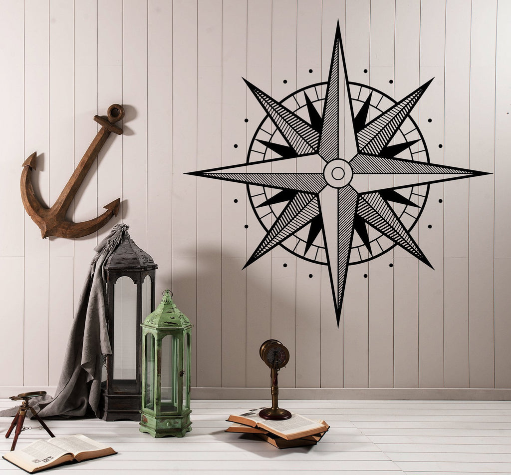 n985 Wall Vinyl Decal Compass Earth Water Side of World Wind Rose