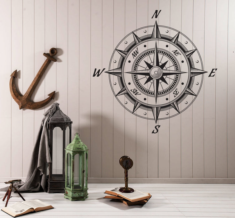 Large Wall Vinyl Decal Sea Nautica Compass Wind Rose Retro Style Decor n986