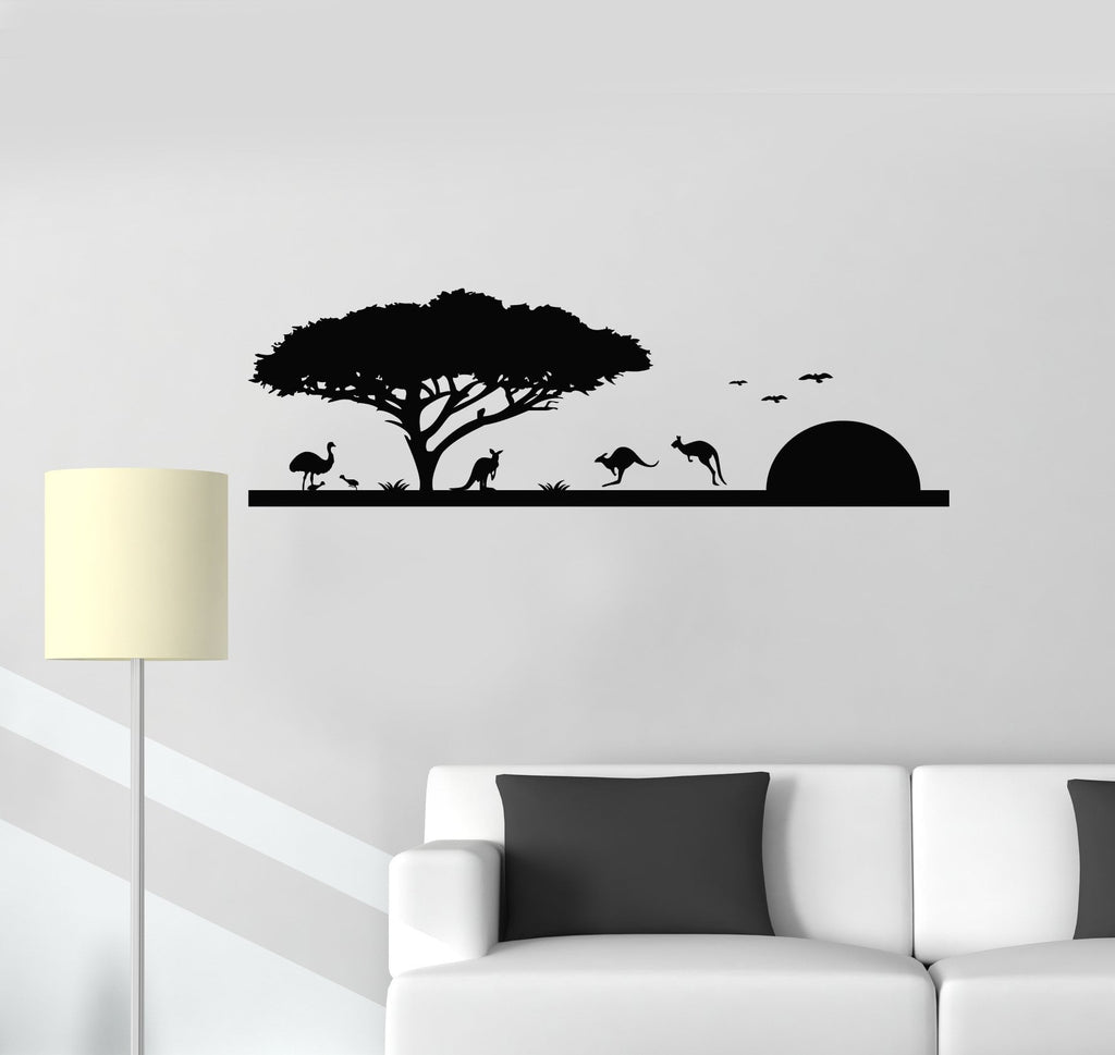 Vinyl wall decal nature landscape australia kangaroo animals decor sti wallstickers4you