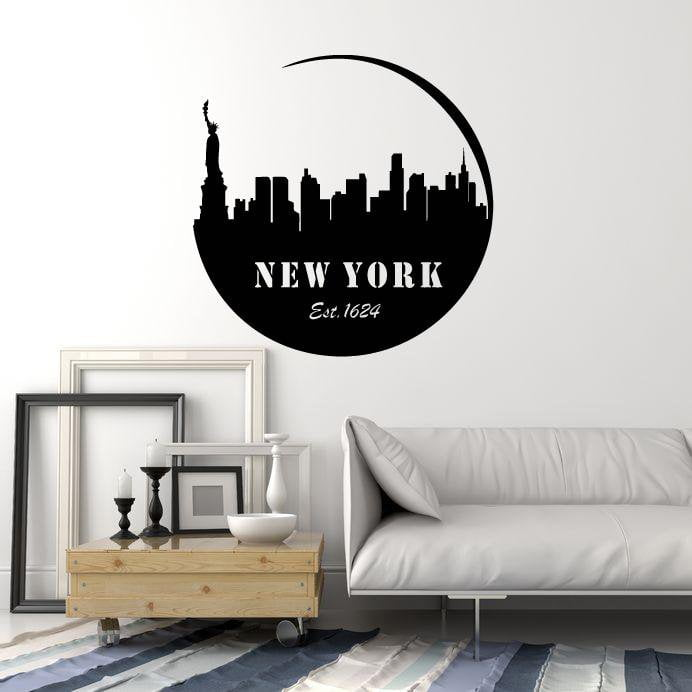 Vinyl Wall Decal New York City Silhouette State USA Statue of Liberty Stickers Mural (ig5356 & Vinyl Wall Decal New York City Silhouette State USA Statue of ...