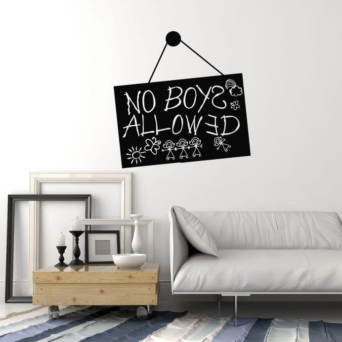 Vinyl wall decal no boys allowed sign girls room decoration stickers mural ig5431