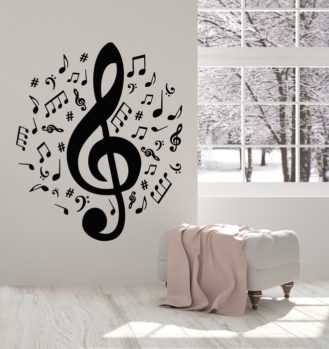 Vinyl Wall Decal Notes Music Song Composing Melody Tone Sharp Stickers  Mural (g1223)