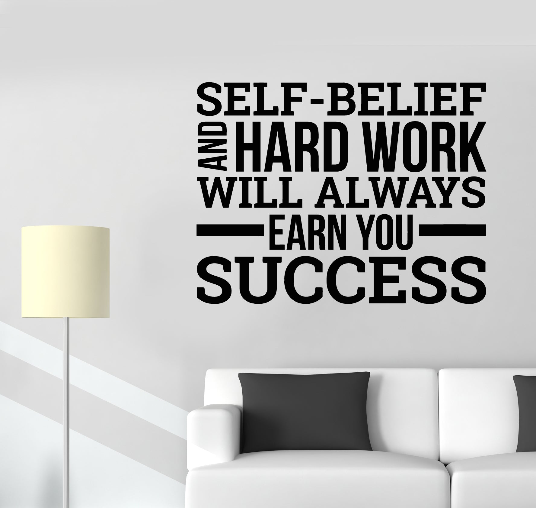 Vinyl Wall Decal Workplace Office Motivational Quote Success Hard Work Wallstickers4you