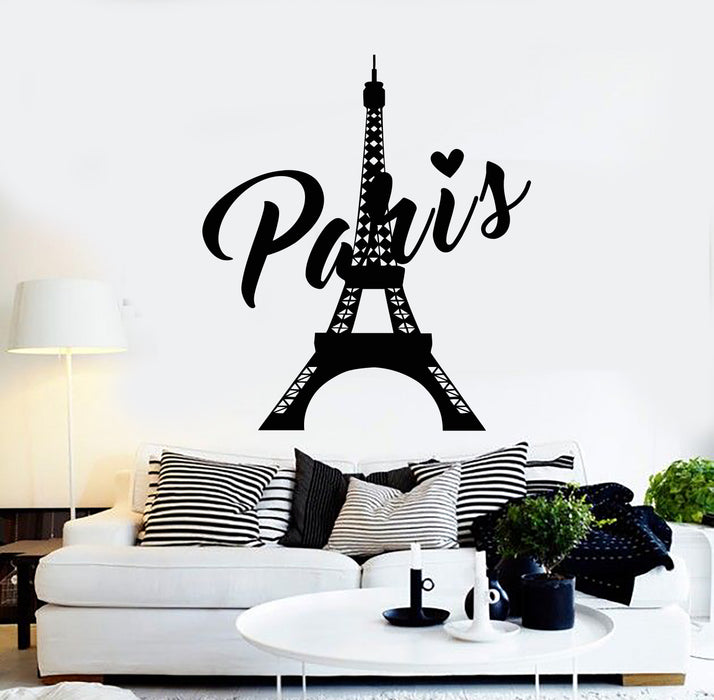 Vinyl Wall Decal Paris Eiffel Tower French Love Tourism Travel Stickers  Mural (g949)