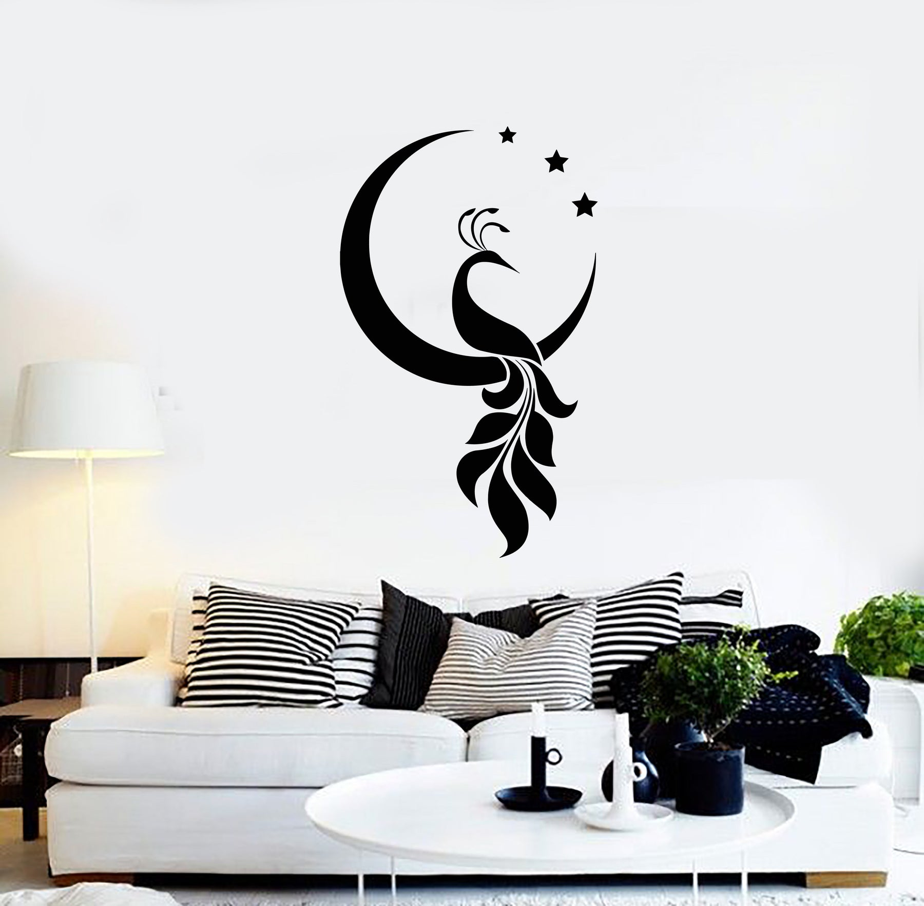 Vinyl Wall Decal Peacock Bird Crescent Stars Decor Room Home