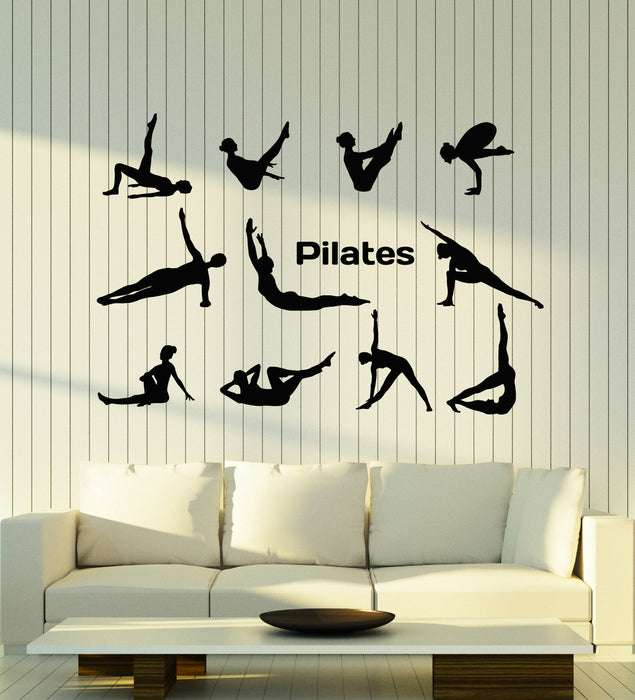 Vinyl Wall Decal Pilates Lifestyle Yoga Pose Gymnastics Sport Stickers Mural (g1927)