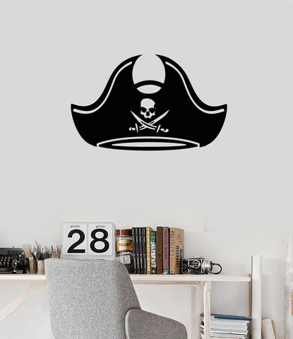 Vinyl wall decal pirate hat kids boys room idea decoration art stickers mural ig5555