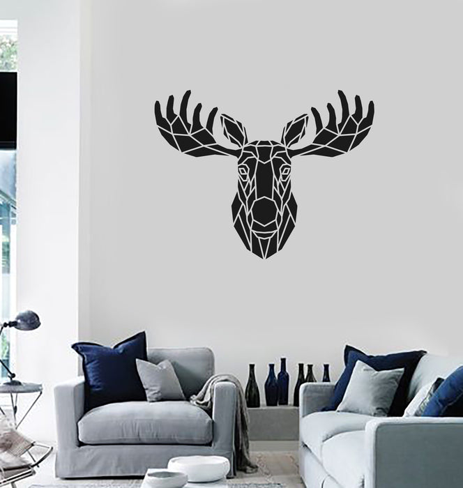 Vinyl Wall Decal Moose Polygonal Animal Hunting Room Decoration Sticke U2014  Wallstickers4you