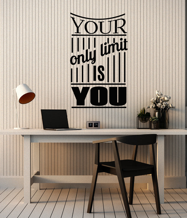 Vinyl Wall Decal Quote Your Only Limit Is You Motivational Phrase Stickers Mural G1406