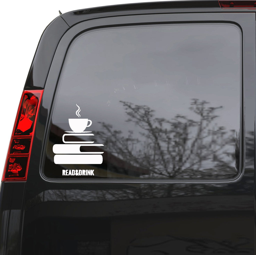 "Auto Car Sticker Decal Read Books Drink Coffee Truck Laptop Window 5"" by 7.1"" Unique Gift ig3416c"