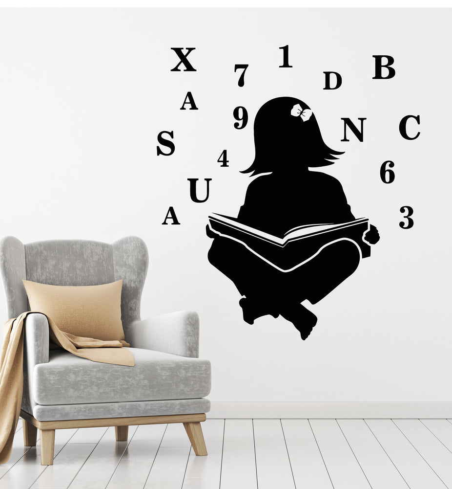 Vinyl Wall Decal Girl Reading Room Library School Letters Numbers Stickers Mural (g2851)