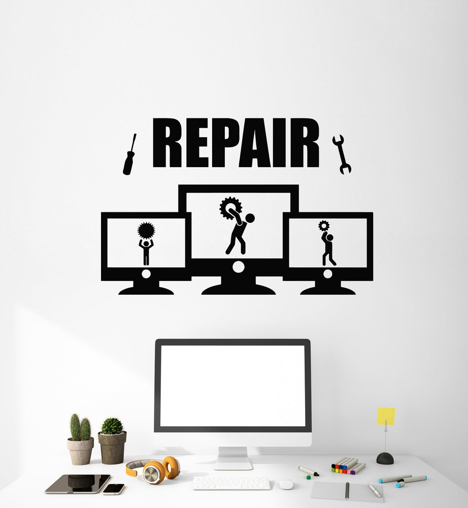 Vinyl Wall Decal Repair Service Tools Computer PC Gears Stickers Mural (g1723)