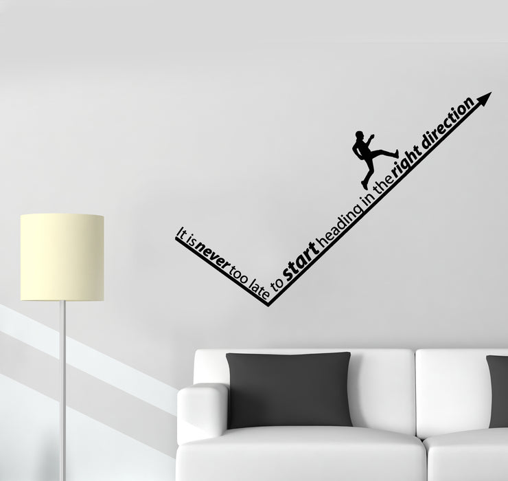 Vinyl Wall Decal Right Direction Quote Office Success Man Stickers Mural (g2102)